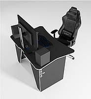 Игровой геймерский стол ZEUS™ ZET-1, черный/белый, фото 1