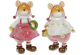 Декоративная фигурка Мышки, 18см, 2 вида, цвет - красный с белым BonaDi 823-524