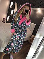 Красивый женский длинный халат с капюшоном, серый c микки маусом