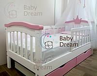 Кровать для девочки с короной SeLfie Baby Dream с бортиком из дерева