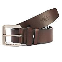 Ремень мужской коричневый кожаный Calvin Klein
