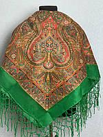 Зелена хустка з народним орнаментом (120х120)