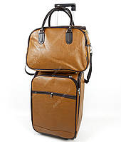 Дорожный вместительный чемодан и сумка ,лаковый  Светло-Коричневый