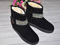 Женские черные сапожки угги на меху, фото 1