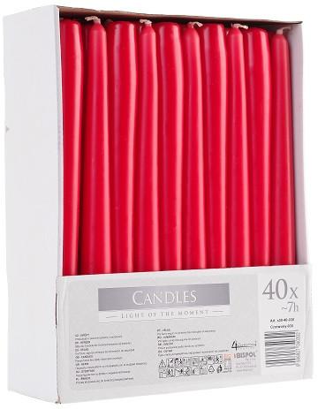 Свеча красная коническая Bispol 24,5 см 40 шт (s30-40-030)