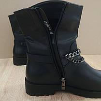 Стильні чорні жіночі теплі черевики півчобітки чобітки еко - шкіра з ланцюгом ЗИМА 36р-41р, фото 3