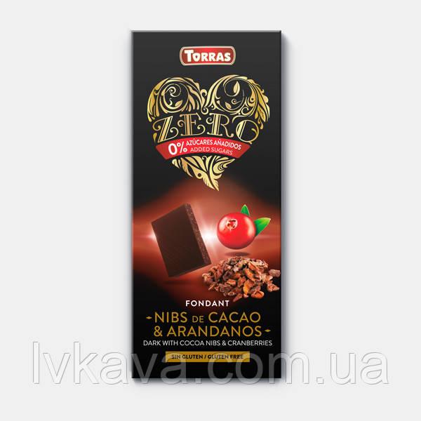 Черный  шоколад Torras с какао-бобами и клюквой  без сахара  , 125 гр