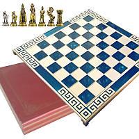 """Шахматы """"Англия"""" 45х45 Marinakis, синяя доска, металлические"""