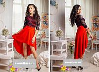 Платье женское нарядное красивое шлейф с гипюром ассиметрия 42 44 46 48 50 52 54  Р, фото 1