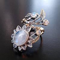 Серебряное кольцо  Цветок с натуральным лунным камнем регулируемый размер Подсолнух