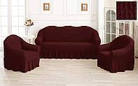 Комплект Чехлов на Диван   + 2 кресла Тепло - Бордовый