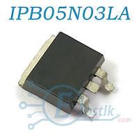 IPB05N03LA, Mosfet транзистор N канал, 25В 80А, TO263