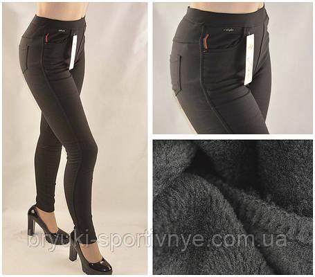 Джинсы женские на меху черные Style  Джеггинсы зимние  M - XXL, фото 2