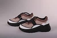 Женские кроссовки замшевые черно-бежевые на липучке