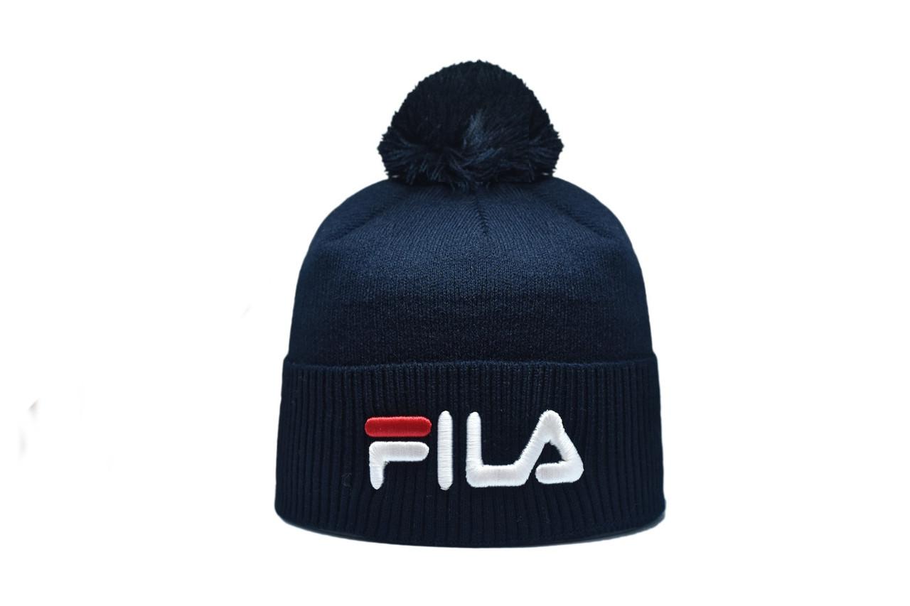 Шапка з помпоном Flexfit Fils 53-57 см Темно-синяя (F-0918-1)