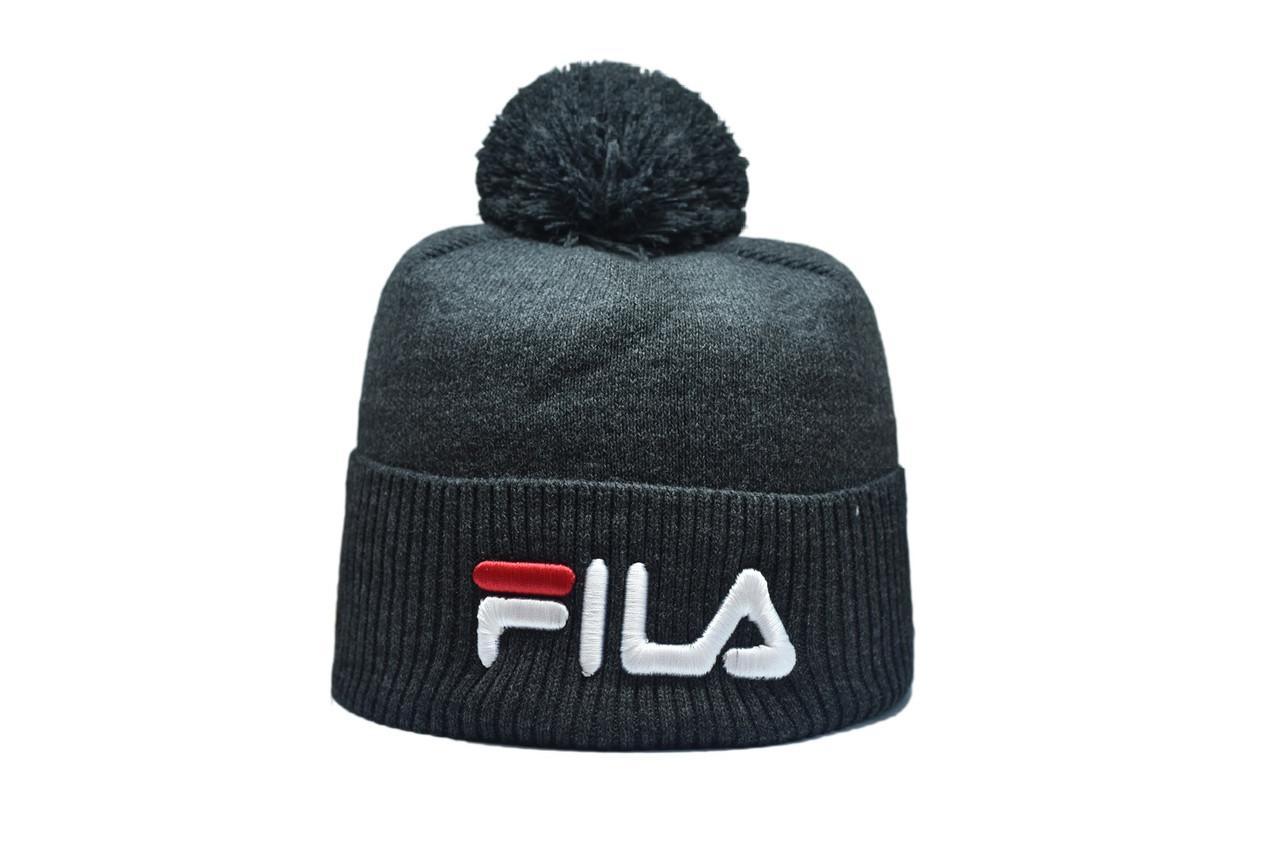 Шапка з помпоном Flexfit Fils 53-57 см Темно-серая (F-0918-2)