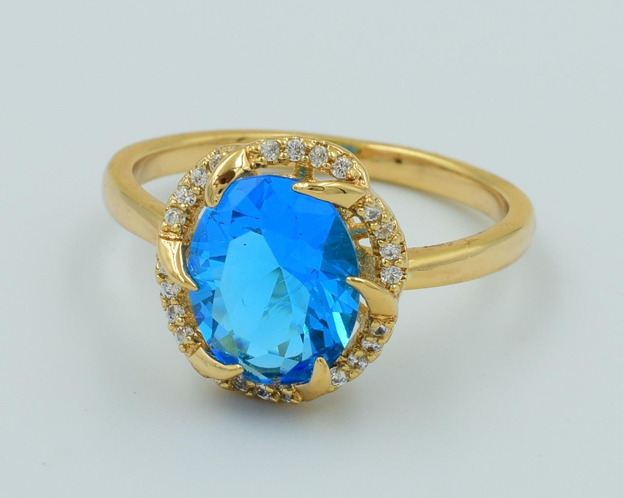 XUPING Кольцо Позолота 18к с голубым и белыми цирконами Высота 1.3см Размер 17,18,19
