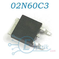 SPD02N60C3, Mosfet транзистор, N channel, 650V, 1.8A, TO252