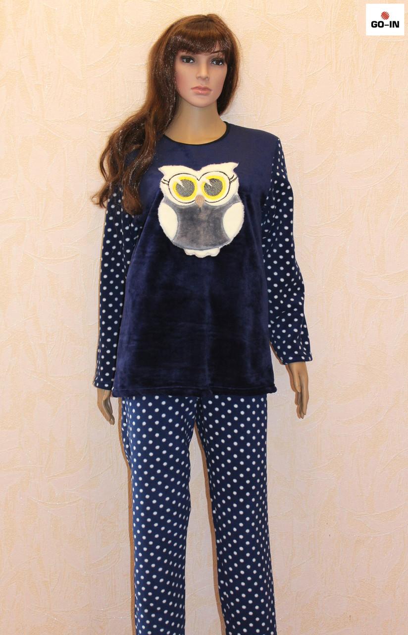 Молодіжна жіноча піжама махрова синя 42-54 р.