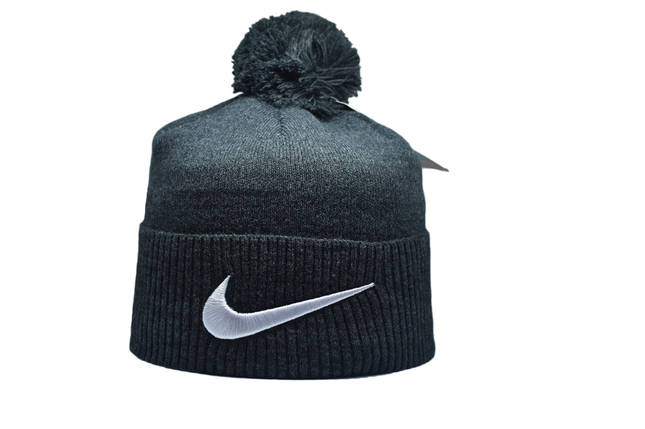 Шапка з помпоном Flexfit Nike 53-57 см Темно-серая (F-0918-22), фото 2