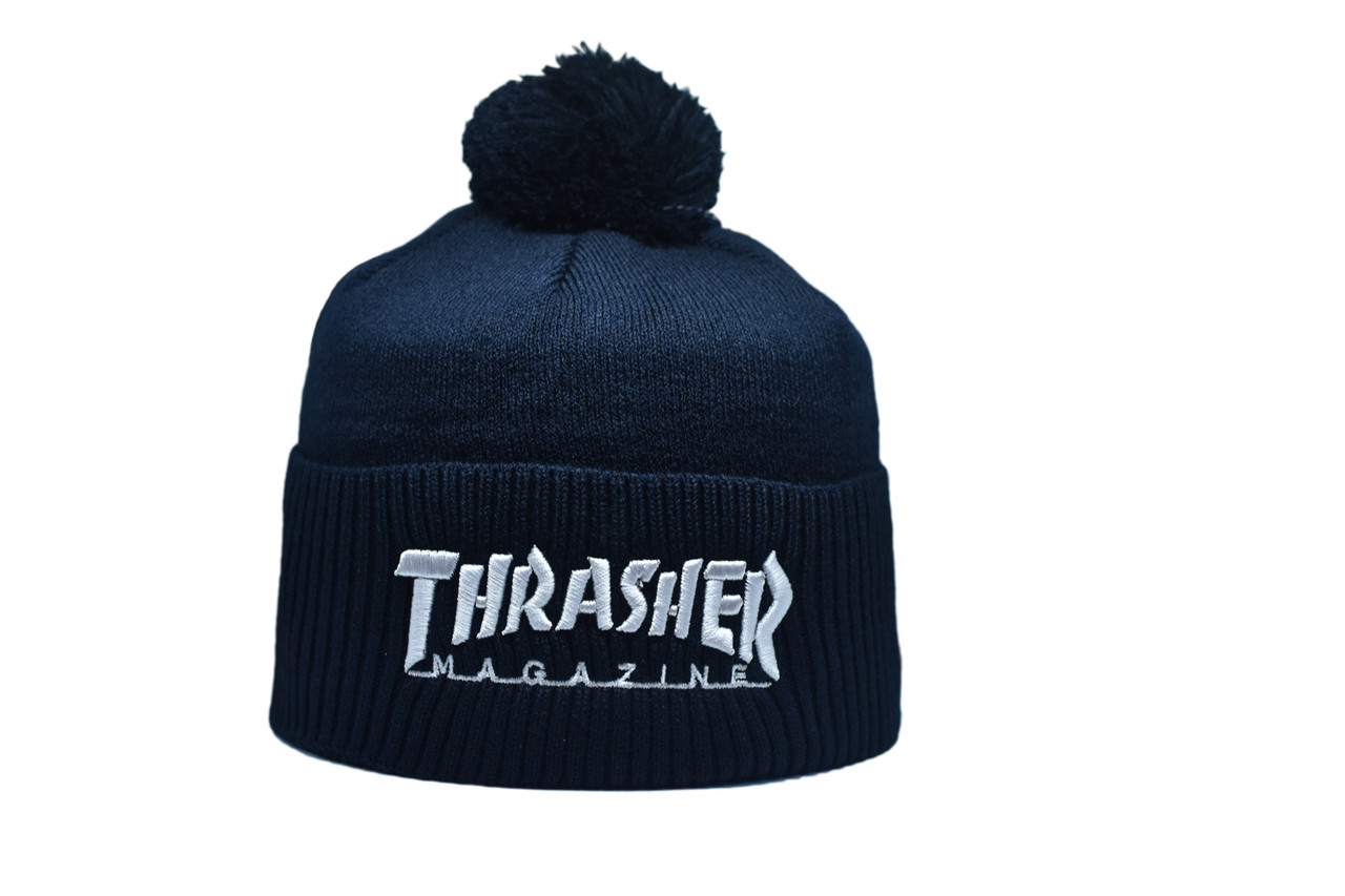 Шапка з помпоном Flexfit Thrasher 53-57 см Темно-синяя (F-0918-28)