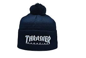 Шапка з помпоном Flexfit Thrasher 53-57 см Темно-синя (F-0918-28)