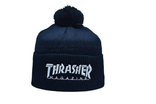 Шапка з помпоном Flexfit Thrasher 53-57 см Темно-синяя (F-0918-28), фото 2