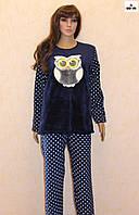 Молодежная женская пижама махровая синяя 42-54 р.