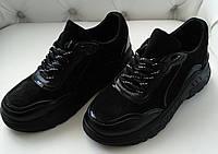 Женские кроссовки замшевые черные