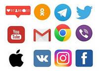 """Харчовий цукровий / вафельний істівний друк _ лист А4 """"Соціальні мережі-месенджери"""""""