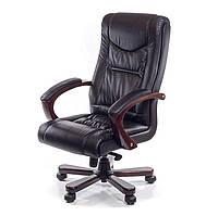 Кожаное директорское кресло с высокой спинкой и деревянным декором АРТУР EX MB черный