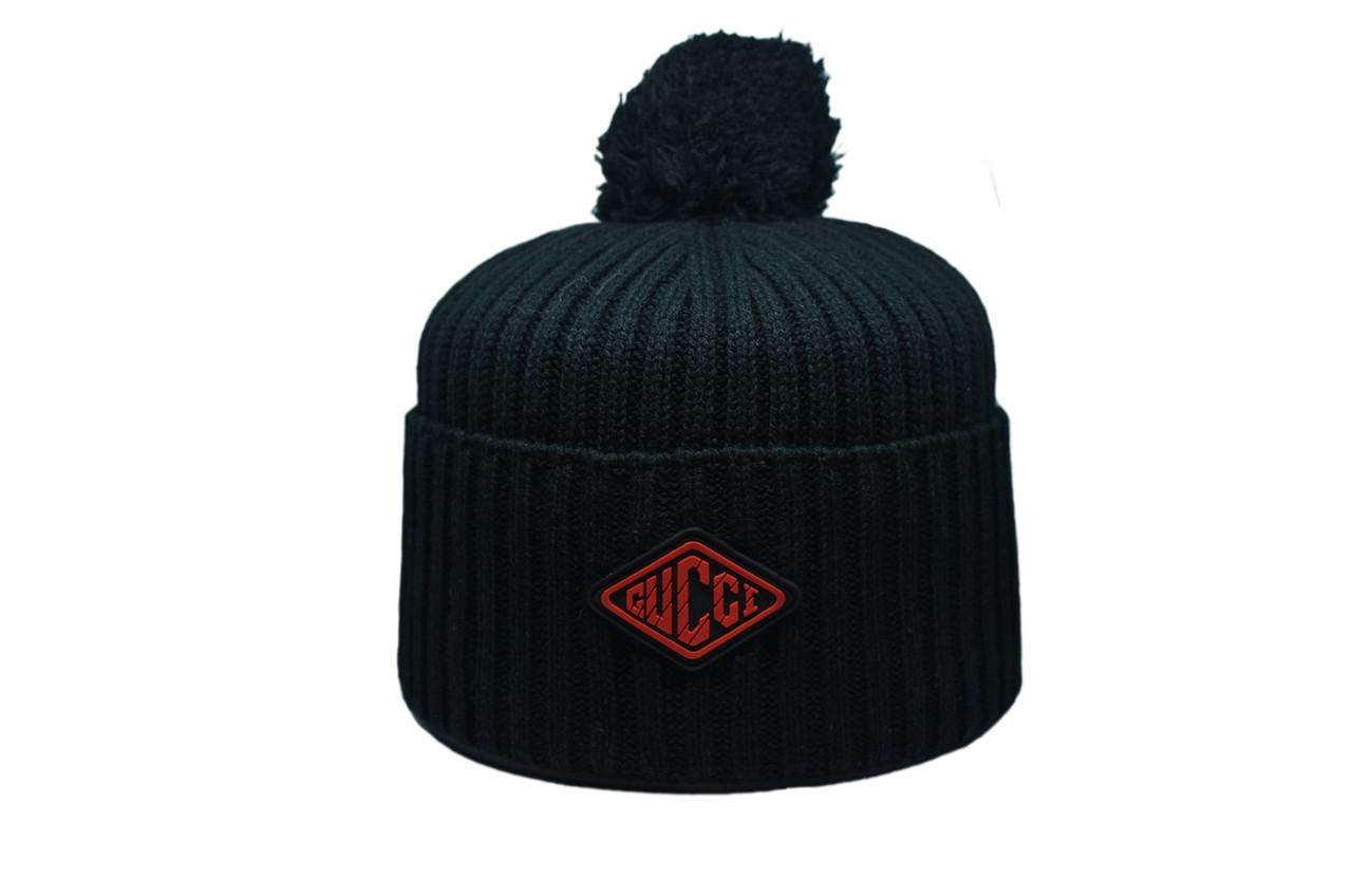 Шапка з помпоном Caps Zone Gucci 55-59 см Чёрная (CZ 1018-12)