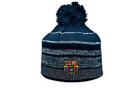 Шапка з помпоном ZH Barselona Madrid 56-58 см Темно-синя (ZH 1018-1)