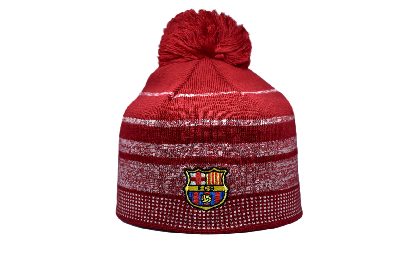 Шапка з помпоном ZH Barselona Madrid 56-58 см Красная (Zh 1018-2)