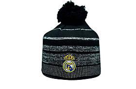 Шапка з помпоном ZH Real Madrid 56-58 см Чорна (ZH 1018-3)