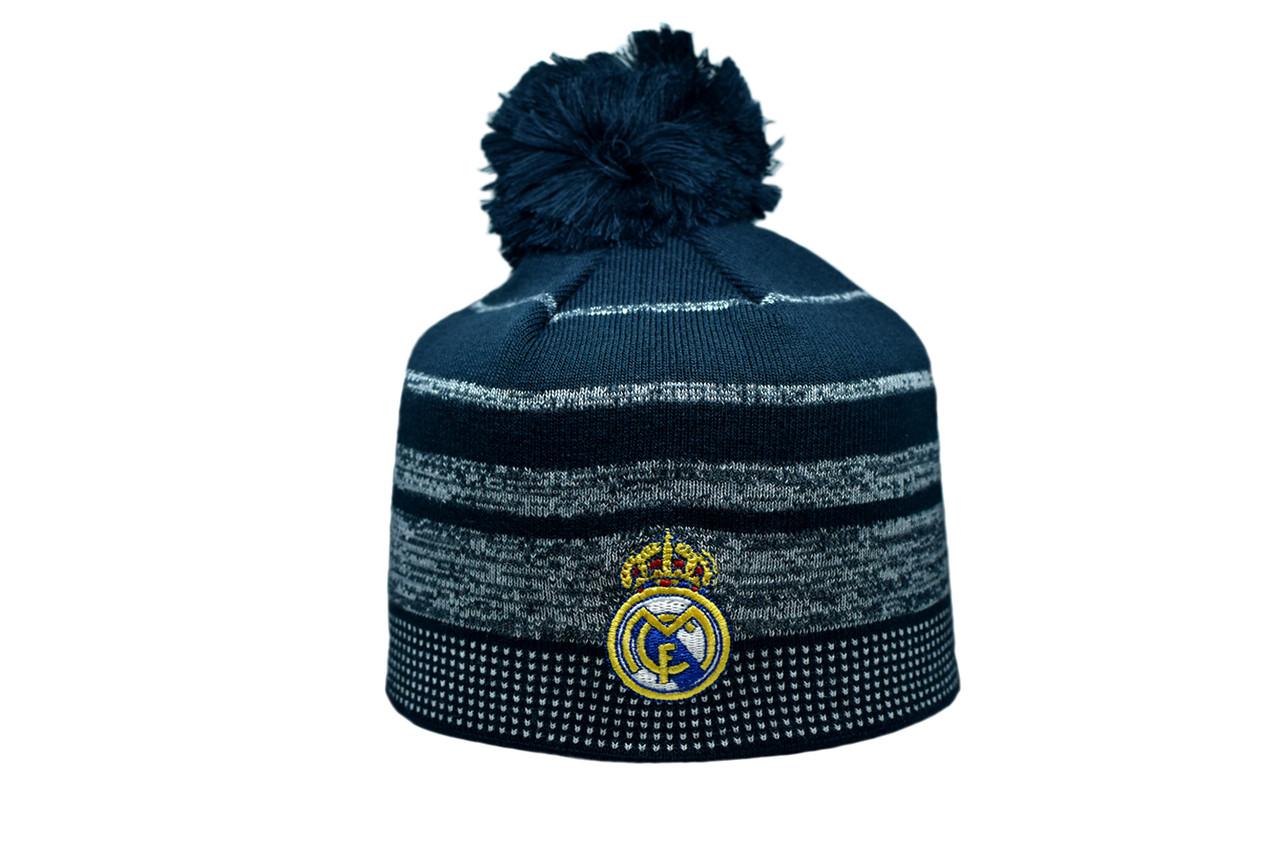 Шапка з помпоном ZH Real Madrid 56-58 см Темно-синяя (ZH 1018-4)