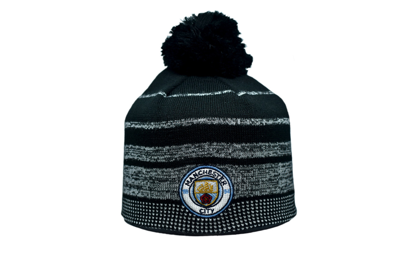 Шапка з помпоном ZH Manchester City 56-58 см Чёрная (ZH 1018-5)