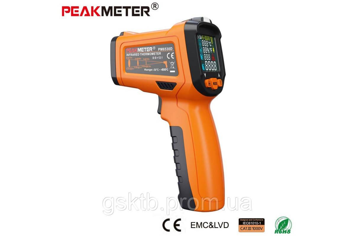 PM6530D пирометр Peakmeter, до 800 °С, температура и влажность воздуха, термопара К-типа, UV-излучатель