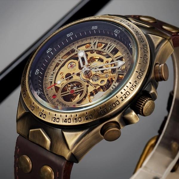 Механические часы с автоподзаводом Vintage Skeleton (brown) - гарантия 12 месяцев