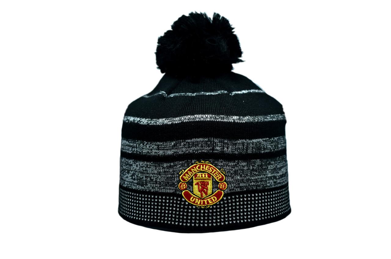 Шапка з помпоном ZH Manchester United 56-58 см Чёрная (ZH 1018-6)