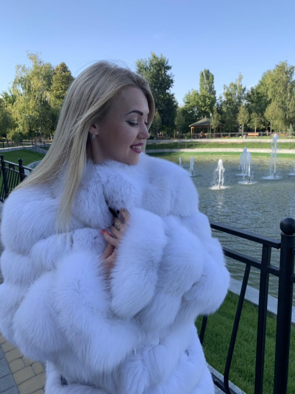 Женская шуба альбинос длина 80,длинный рукав (889)