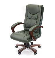 Кожаное директорское кресло с высокой спинкой и деревянным декором АРТУР EX MB зеленый