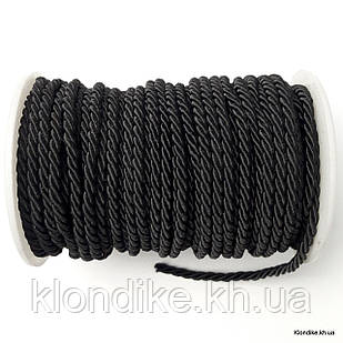 Шнур плетёный, нейлон, ширина: 4 мм, Цвет: Чёрный