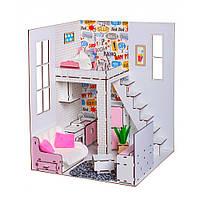 Домик для кукол Барби. Пентхаус для Барби с мебелью, обоями, текстилем и шторками (500х400х400 мм)