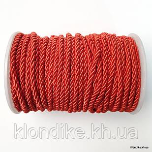 Шнур плетёный, нейлон, ширина: 4 мм, Цвет: Красный
