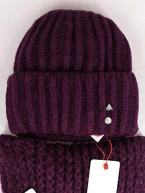 Комплект (шапка и снуд-хомут) Flirt Лика-Морган One Size марсала, фото 2