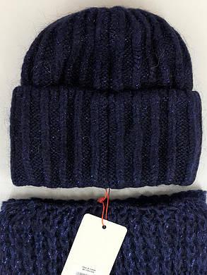 Комплект (шапка и снуд-хомут) Flirt Лика-Морган One Size синий, фото 2