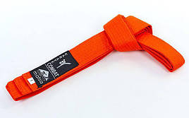 Пояс для карате из хлопка - 270 см. Оранжевый