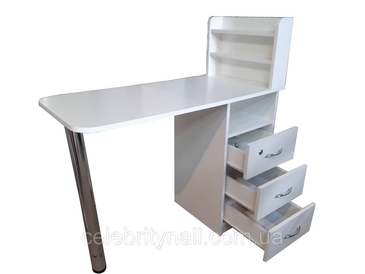 Маникюрный стол Стандарт с полками (прямая столешница )