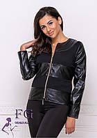 Короткая курточка женская прямого, приталенного силуэта из эко кожи, фото 1